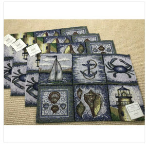 NEW Set 4 Nautical Decor Placemats Tapestry Beach